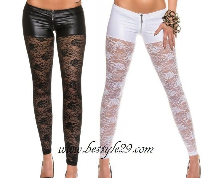 Leggings dentelle & aspect simili-cuir & zip blanc & noir