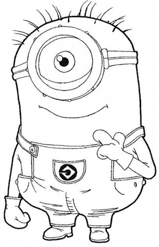 One Eye Minion Despicable Me Coloring Pages- #kids #coloring #colouring #pages #despicable #me 2 #minions