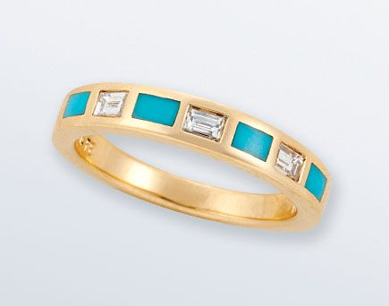Gold And Turquoise Wedding Rings | what do your engagement and/or wedding rings look like?