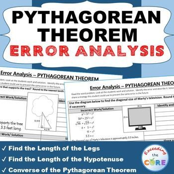 PYTHAGOREAN THEOREM Word Problems - Error Analysis (Find the Error) Have your students apply their understanding of PYTHAGOREAN THEOREM with these ERROR ANALYSIS activities. Perfect for math stations, math homework, math assessments. Topics: ✔ Find the Length of the Legs / Hypotenuse of a Right Triangle ✔ Converse of the Pythagorean Theorem Middle School Math 8th Grade Geometry Common Core 8G7, 8EE2