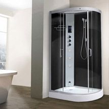 AquaLusso - Alto 12 - 1200mm x 800mm Offset Steam Shower - Carbon Black
