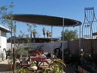 pictures of recycled trampolines | Recycle old trampoline into a shade gazebo