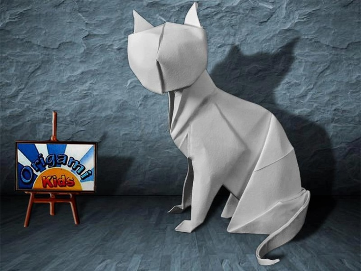 Origami Cat (Gato) by Anibal Voyer  Designer: Anibal Voyer  Folder and Photo: @Origami_Kids  Complexity: Intermediate. Time to fold 30 min. 40 steps. Folded from a one classic Single Uncut square origami white paper, about 25 cm x 25 cm.  Diagrams in BOS Convention 1999 Spring Pages 51-53.  Folding Instruction: http://origami-blog.origami-kids.com/origami-cat-gato-by-anibal-voyer.htm