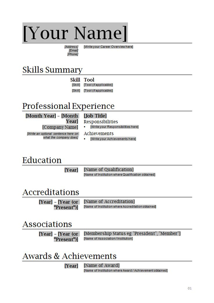 professional resume template - Ms Word Resume Template Free