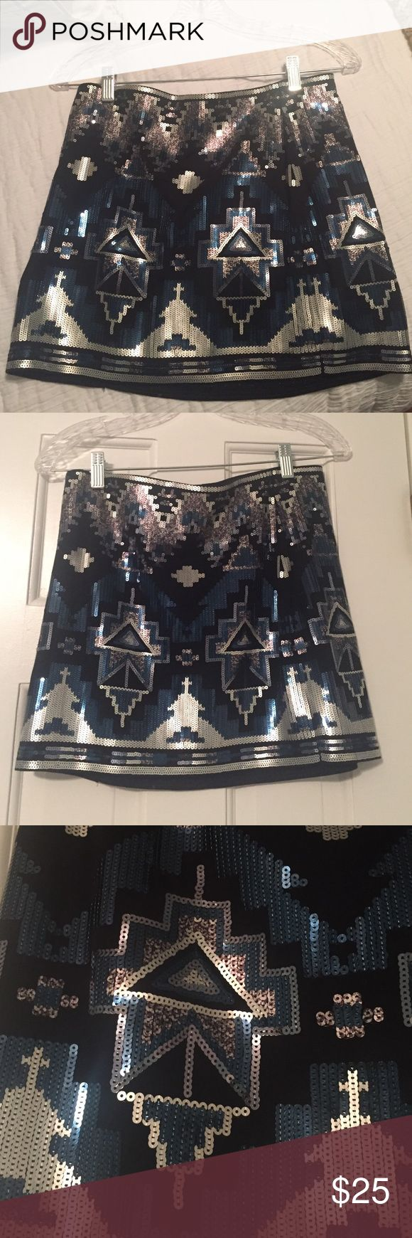 """Sequin mini skirt Sequin mini skirt from express. 15"""". Stretchy so can fit variety of shapes. Perfect for New Year's Eve. Looks great with black tights. New with tags. I'm 5'3 and a size 0-2. Express Skirts Mini"""