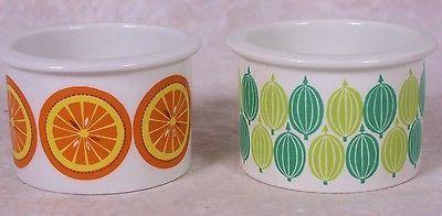 Arabia-Finland-Pomona-Gooseberry-Orange-Jam-Jar-Honey-Pot-Set-of-2-Porcelain