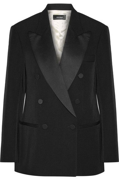 Isabel Marant - Oversized Satin-trimmed Wool-twill Blazer - Black