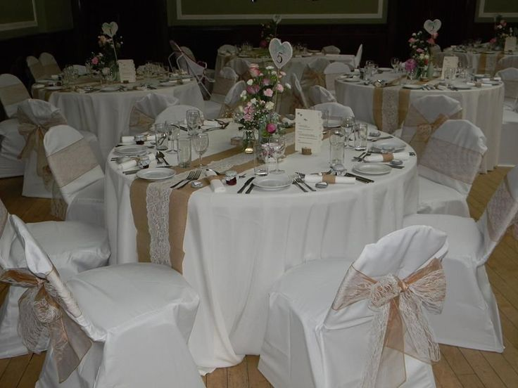 Ivory lace chair sashes over mocha organza