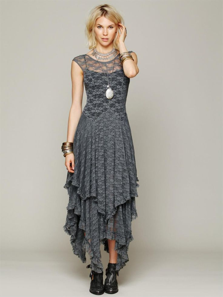 hippie Style Asymmetrical embroidery Sheer lace dresses double layered ruffled trimming low V-back (No lining)