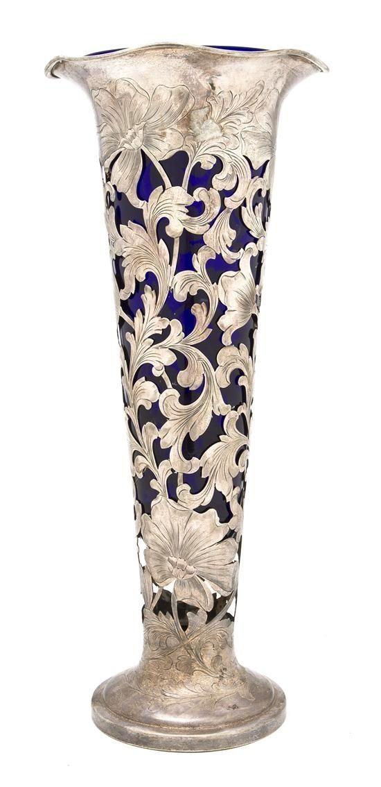 Art Nouveau Cobalt Glass Vase by mabel
