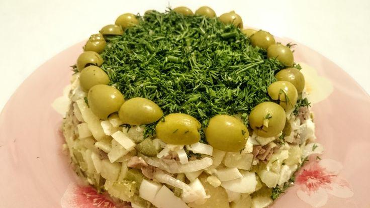Вкусный Салат из печени трески без майонеза рецепт Секрета как приготови...