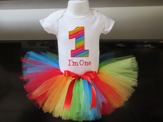 GIRLS Rainbow Circus Personalized First Birthday Party Outfit - Bodysuit Tutu Legwarmers Flower Headband - 1st Custom Baby Outfit