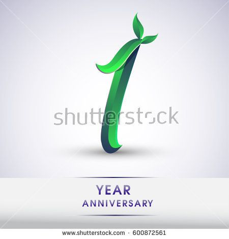 one years anniversary celebration logotype with leaf and green colored. 1st birthday logo on white background.