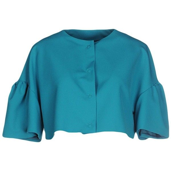 Annie P. Blazer (3.060.600 VND) ❤ liked on Polyvore featuring outerwear, jackets, blazers, turquoise, blazer jacket, ruffled blazer, blue blazer jacket, single breasted jacket and stretch blazer