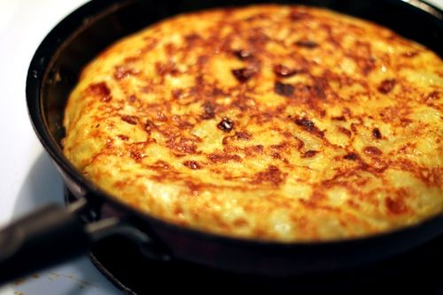 Tortilla. I think we will use less olive oil and slice the potatoes thinner the next time we make this.