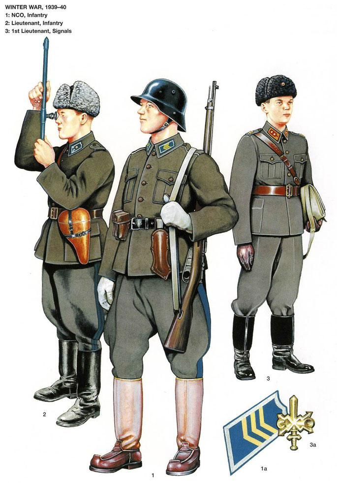 Finnish Army officers and enlisted soldiers' summer field uniforms during the 1939-1940 Winter War.