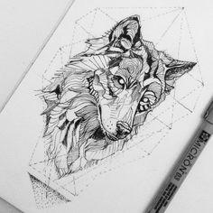 Wolf tattoo illustration, black work by Broken Ink Tattoo, evtl mit blumen/ornamente statt linien beim wolf