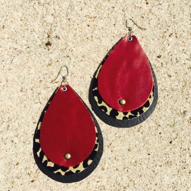 leather earrings handmade eclectic style one of a kind fashion women's jewelry