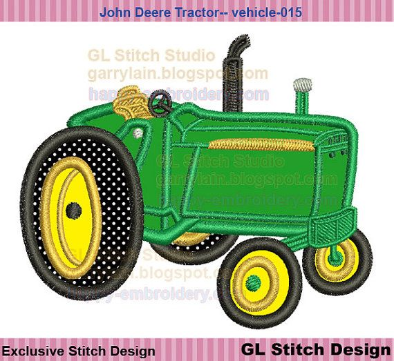 Embroidery Of Tractors : John deere tractor embroidrey applique design machine