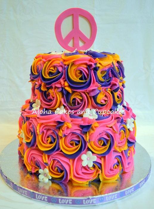 tie dye peace cake