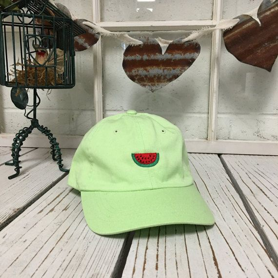 New Watermelon Embroidery Lime Green Baseball by PrfctoLifestyle