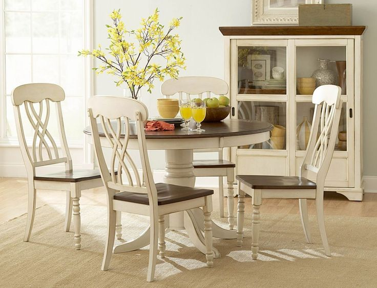 Casual Country Antique White Dining Table Set