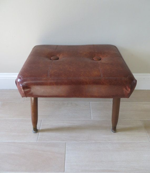 Mid Century Modern Brown Ottoman Foot Stool by SoulfulVintage