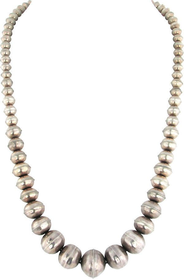 graduated navajo silver pearl necklace