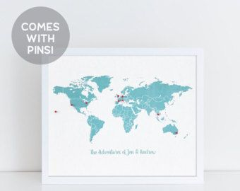 Personalizzato con cornice Push Pin viaggio mappa, viaggio regalo, regalo di anniversario, regalo di laurea, Wanderlust, regalo per lui, mappa di Cork, mondo mappa stampa