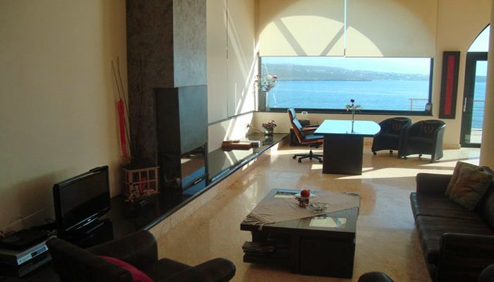 Villa Kirki, Tersanas, Chania: Airy and bright interiors, magnificent views of the Cretan Sea! View more & make a reservation: http://www.mysunnyescapes.com/svilla.php?id=1