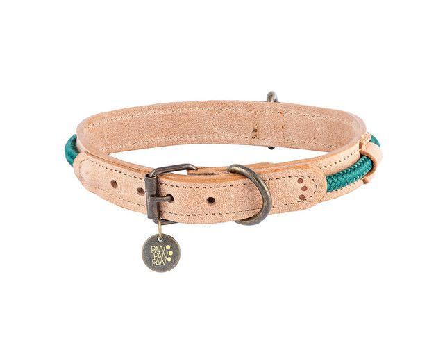*M* Leder Hundehalsband Hafen Green, 32-37 cm