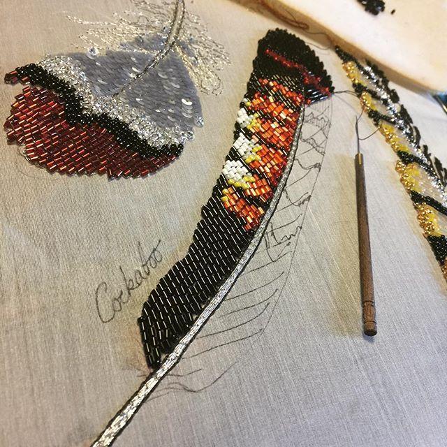 Red tailed black cockatoo feather progress. #contemporaryembroidery #stitchersofinstagram #embroideryinstaguild #embroiderydesign #beadembroidery #beadersofinstagram ##featherembroidery #feather #broderie #aari #aarineedle #tambour #tambourembroidery #needlework