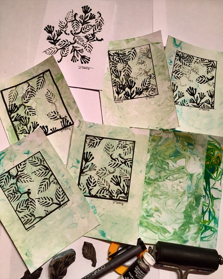 Spring printing session with handcolored paper
