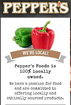 Pepper's Foods is 100% locally owned. We have a passion for food and are committed to offering locally and ethically sourced products. Home to hundreds of gluten-free, vegan, natural and organic products. http://www.peppers-foods.com/?page_id=134