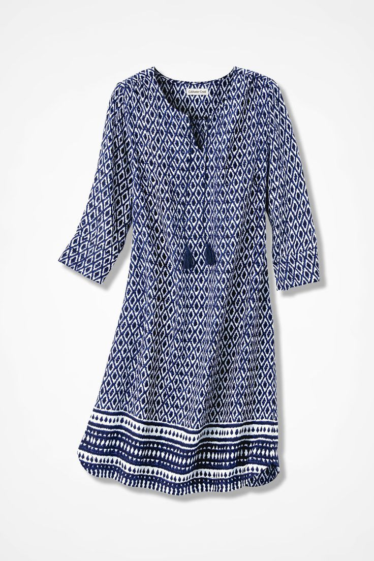 "Border Print Boho Dress - Coldwater Creek - yes on style & color, but usually end up down a size so it doesn't end up a ""tent"" on me."