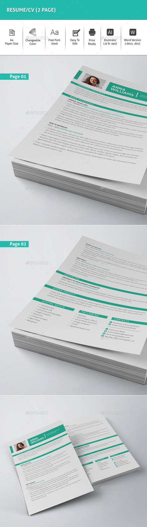 Resume/CV (2 Page) Template Vector EPS, AI Illustrator, MS Word. Download here: http://graphicriver.net/item/resumecv-2-page/16083321?ref=ksioks