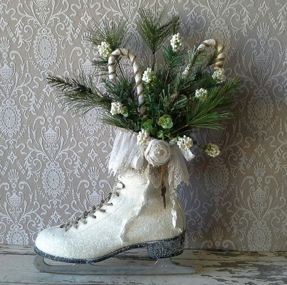 Winter Ice Skate Christmas Ice skate Wreath Wall decor  by 6miles