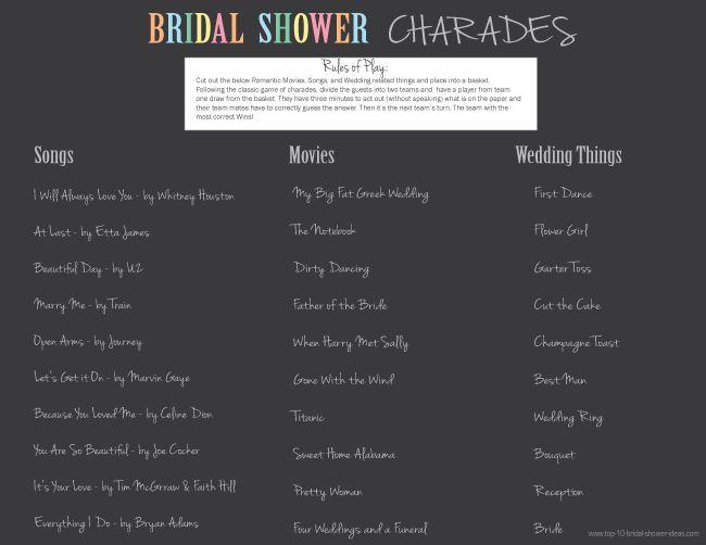 Bridal Shower Charades