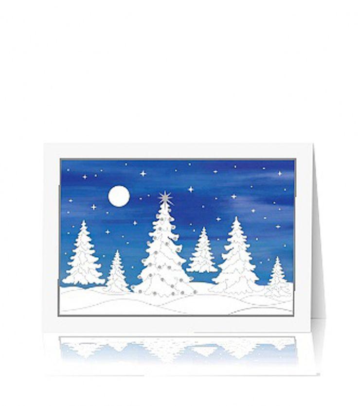 Kartka świąteczna B 155 Biały papier o delikatnej strukturze, druk pełno -kolorowy. Zaśnieżone choinki podkreślone delikatnym tłoczeniem dopełnione srebrną folią.