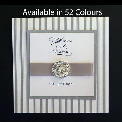 Square Folding Wedding Invitation With Stripes Pattern And Diamante Cluster -  Kardella -  Australia's online wedding store www.kardella.com