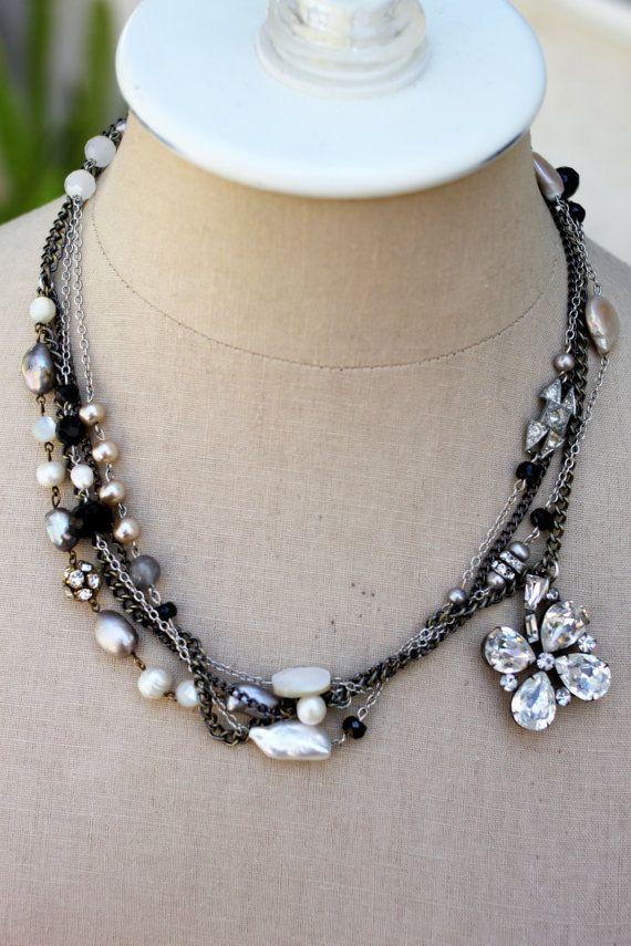 layered vintage rhinestone, pearl, gemstones and other sparkle