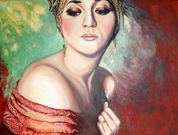 Mixed Media art on canvas- LADY IN RED by SharelCilliers