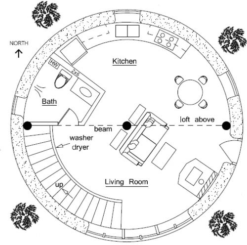 Two-story roundhouse plan for earth bag construction.  I like round houses.  They feel friendly.