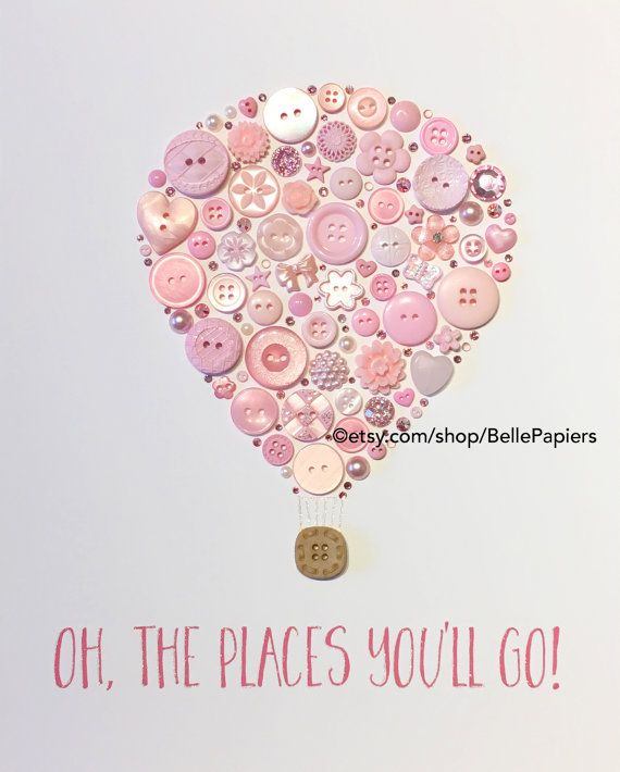 Hot Air Balloon Oh The Places You'll Go Button by BellePapiers