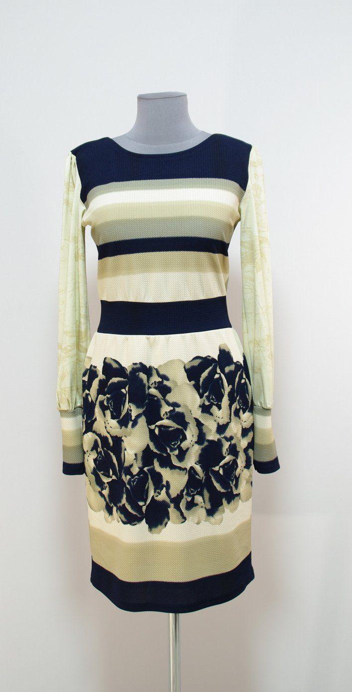 Молочное платье с темно-синими полосами и рисунком | Платье-терапия от Юлии