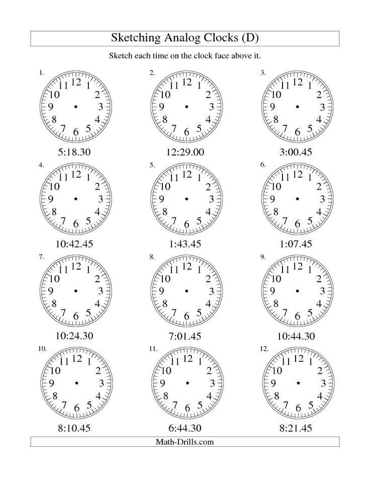 Sketching Time on Analog Clocks in 15 Second Intervals (D) free worksheet