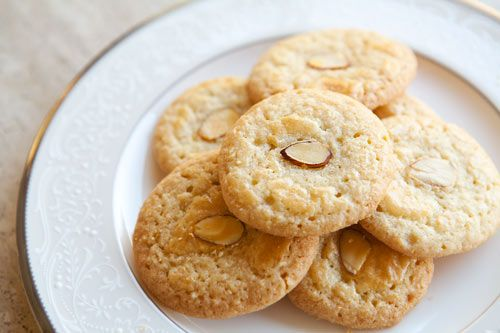 Chinese Almond Cookies Recipe Desserts, Afternoon Tea with almond flour, unsalted butter, kosher salt, eggs, almond extract, flour, sugar, baking soda, sliced almonds