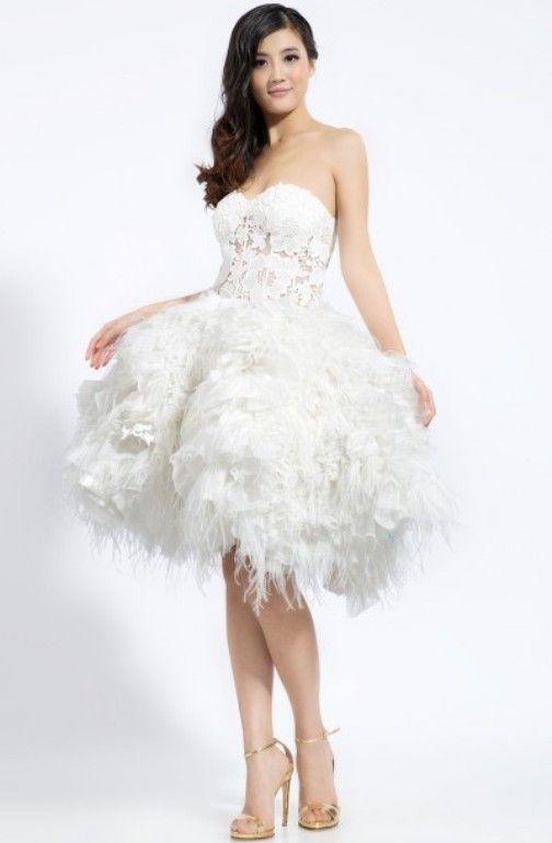 robe de mariée courte à plumes                                                                                                                                                                                 Plus
