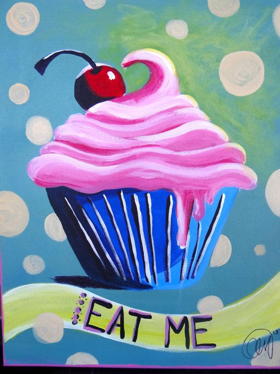 Eat Me Im a Cupcake Painting by ChristinaMansour on Etsy, $45.00