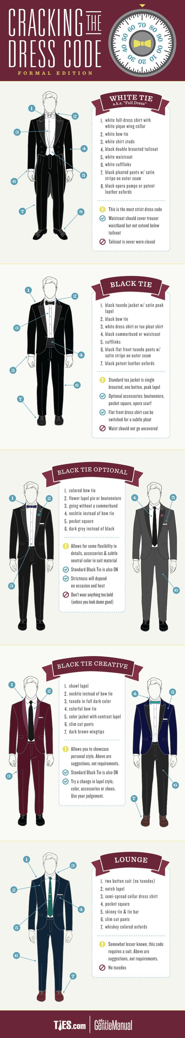 Cracking The Dress Code Formal Edition: An Infographic #dresscode #menstyle #RMRS #menswear | Raddest Men's Fashion Looks On The Internet: http://www.raddestlooks.org